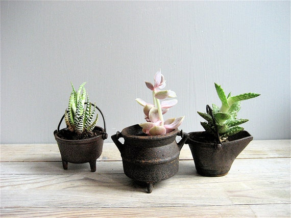 Set of Three Mini Cast Iron Pots