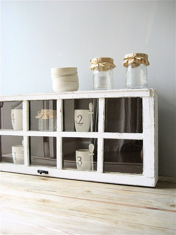 Repurposed Old Window Wooden Large Cabinet