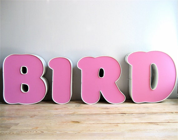 Vintage Large Marquee BIRD Letters