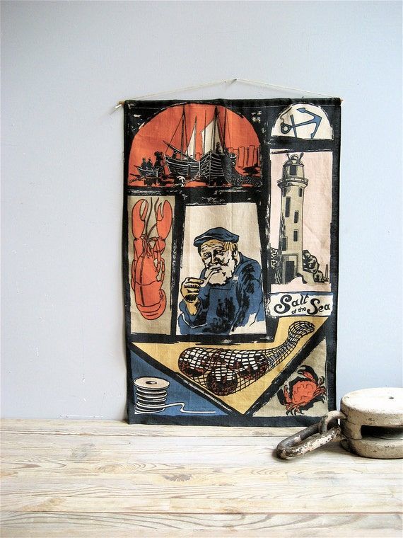 Vintage Nautical Linen Panel