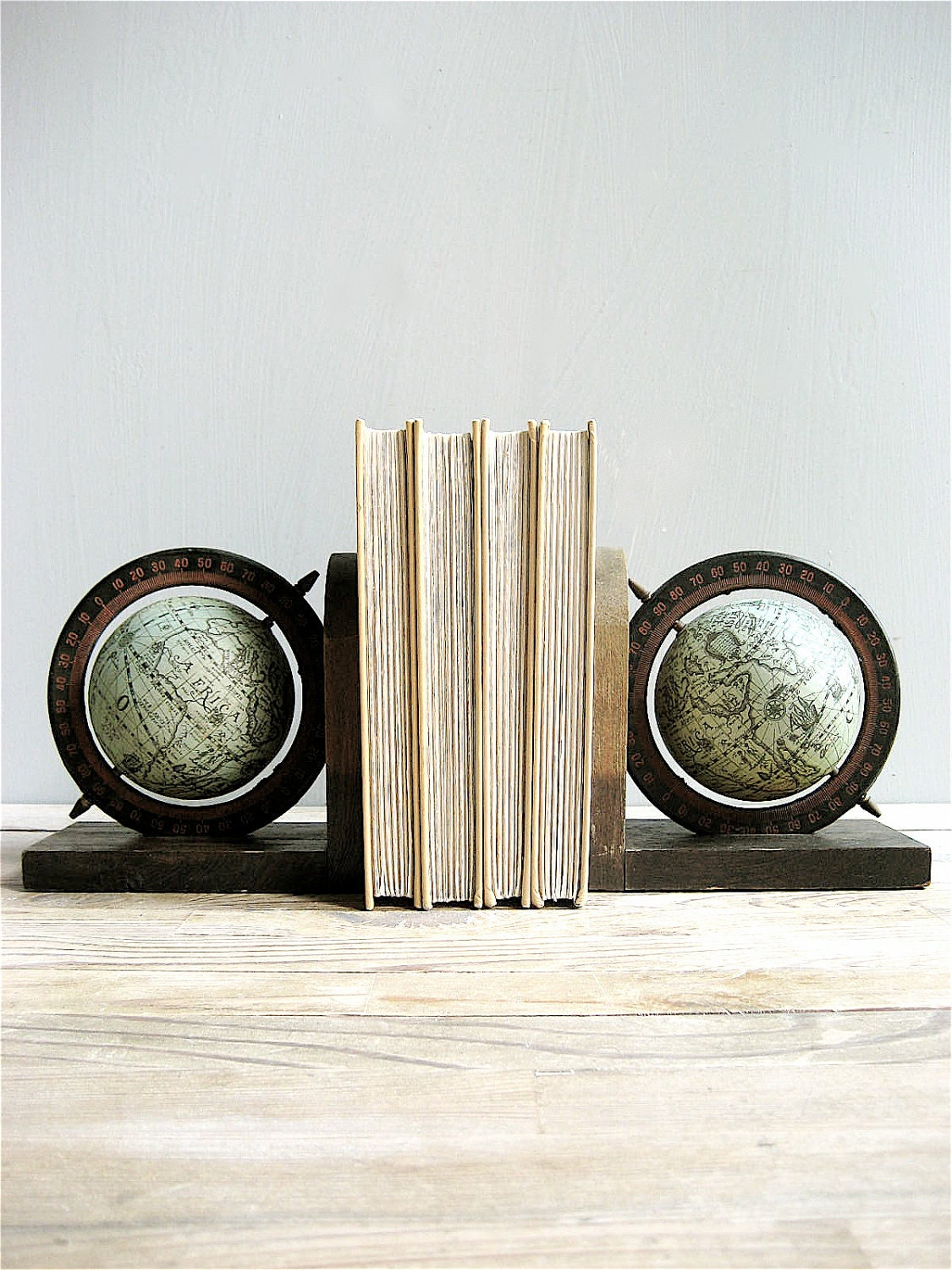 Vintage Globe World Bookends