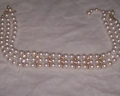 vintage necklace choker pearls rhinestones