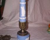 vintage wedgwood jasperware blue white lamp light