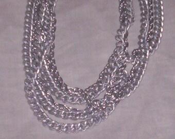 vintage necklace silvertone 6 strand
