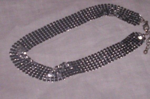 vintage necklace silvertone metal mesh