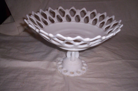 vintage milk glass fruit banana bowl open lace pedestal