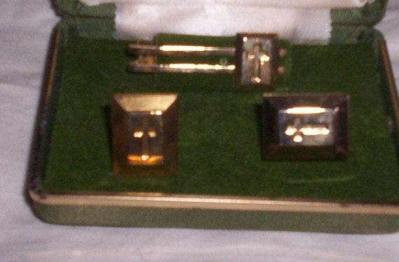 cufflinks tie tac set goldtone with crosses