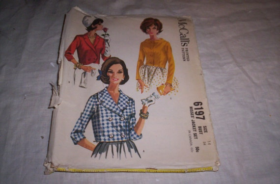 vintage sewing pattern mccalls 6197 jacket set reserved for laurie