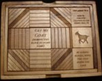 Get my Goat handmade - unique wood brain teaser puzzle - move the Goat inside the cage
