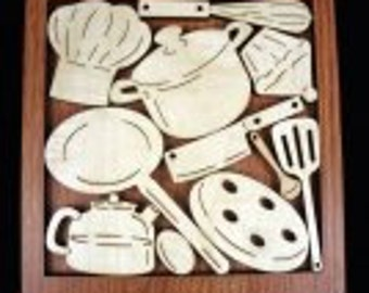 Cook's Cupboard Puzzle Can you put all the kitchen utensils away