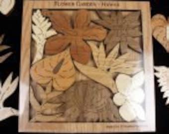 Flower Garden Hawaii - A puzzle of Native Hawaiian Flowers Wood Version - Brain Teaser
