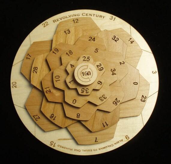 Revolving Century II -  wooden math brain teaser puzzle -Unique Design - Maple and Alder wood