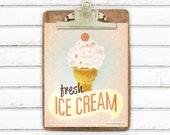 Fresh Ice Cream Retro Vintage Style 8x10 Art Print Digital Artwork Photo Print