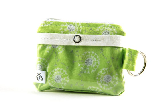 Keychain Wallet with ID Window and Zipper, Green and White Dandelions