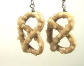 Pretzel Earrings Polymer Clay Beaded food novelty jewelry Handmade Hand sculpted