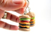 Double Cheeseburger Earrings Polymer Clay Food Beaded