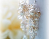 Glamorous Elegant Bridal Wedding Earrings Pearls & Swarovski Crystals