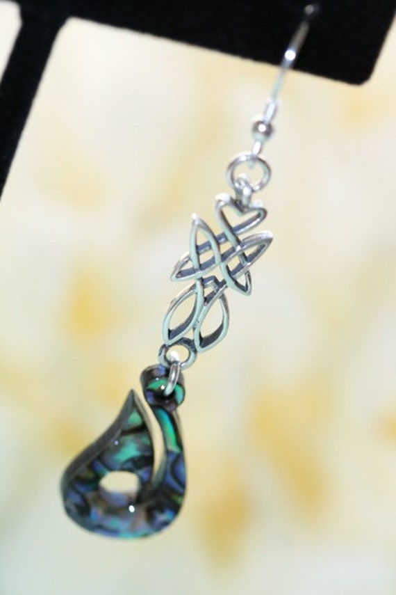 Sterling Silver Celtic Flair Paua Earrings