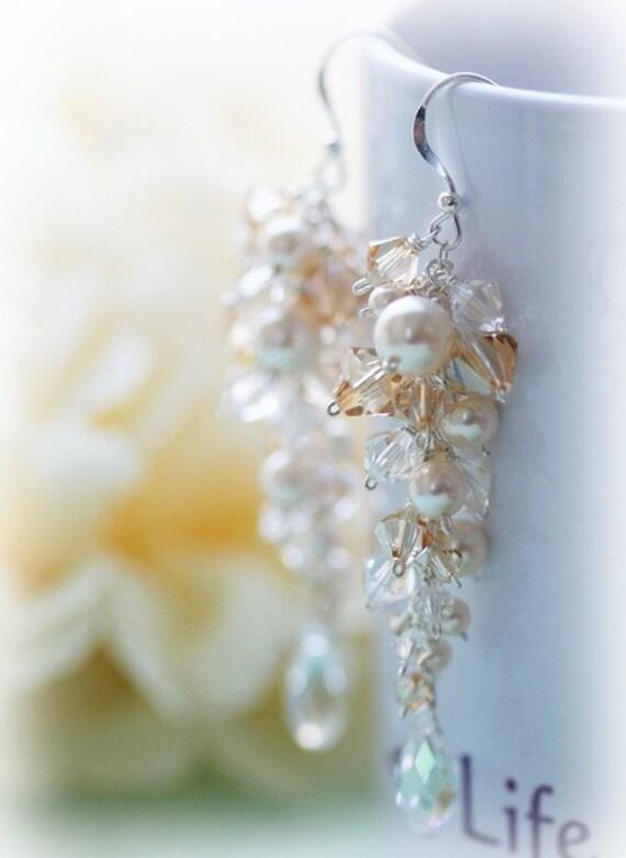 Glamorous Elegant Bridal Wedding Earrings Pearls & Swarovski Crystals