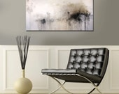 """Textured Gold, Black, Gray,White Contemporary Abstract Painting 24"""" x 48"""""""