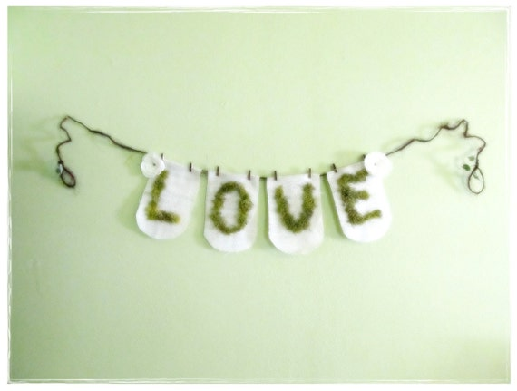 SPECIAL SALE...Woodland Moss LOVE Burlap Garland...Country Fairytale Wedding Reception Engagement Party Home Decor