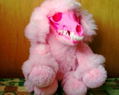 Payton the horror, popgoth, bubble gum goth, pink plush poodle with skull face