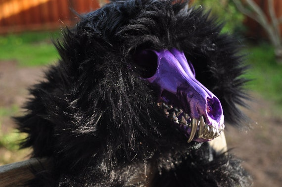 Valentine the horror, pop goth, bubble gum goth, purple, black, and silver skull-faced plush poodle puppy