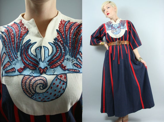 60s/70s Mexican Hand Embroidered Birds & Fish Maxi Dress