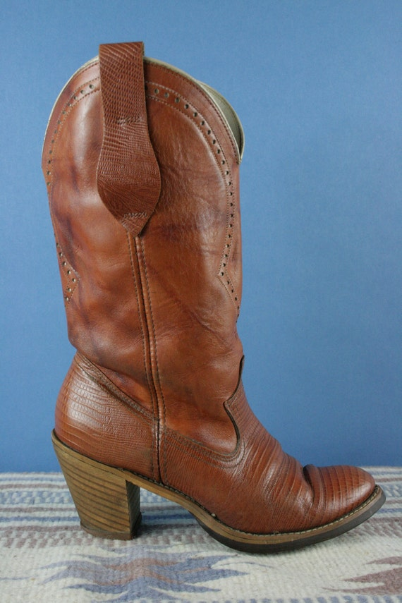 70s ACME Reptile & Leather Cut Out High Heel Leather Cowboy Boots Ladies 8
