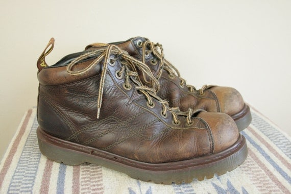 90s Dr Martens Distressed Brown Leather Lace Up Ankle Boots Shoes Mens 11 11.5 Made in ENGLAND