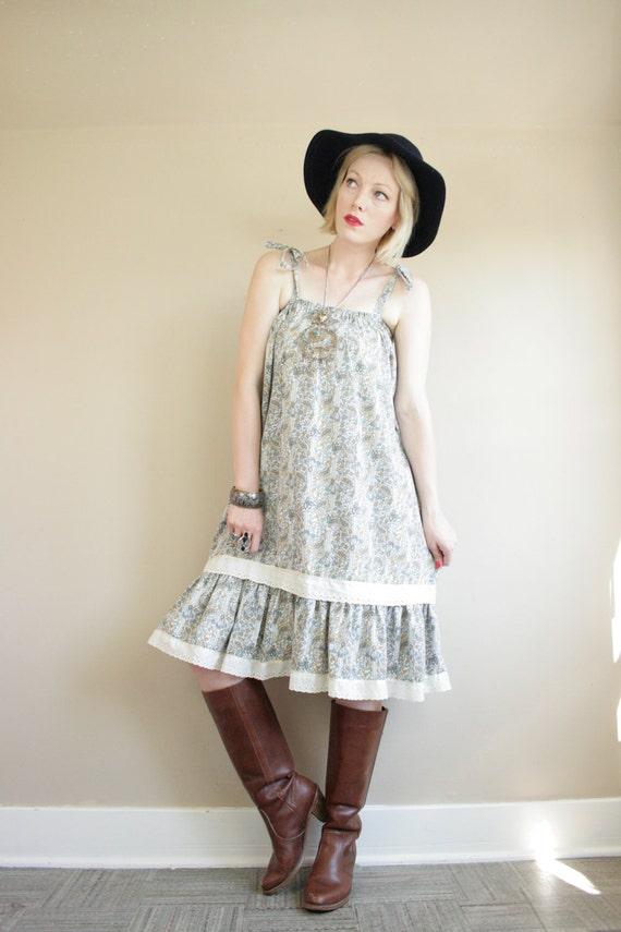 Paisley Floral & Eyelet Lace Ruffle Babydoll Tent Dress