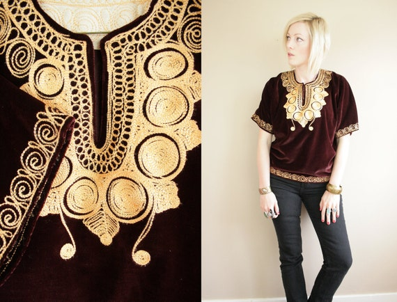 Burgundy VELVET & Gold Embroidered Brocade Tunic