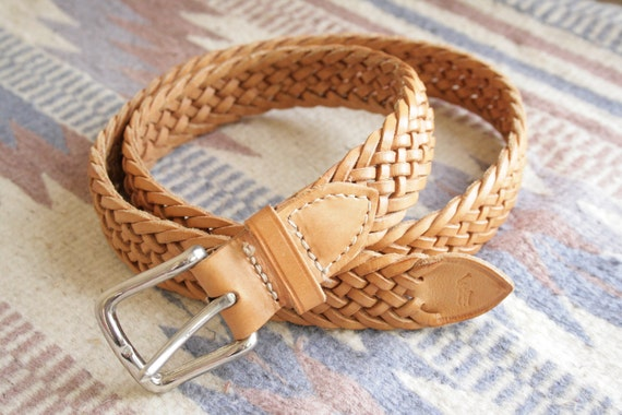 Simple Caramel Light Brown Leather Braided Belt w/ Silver Buckle