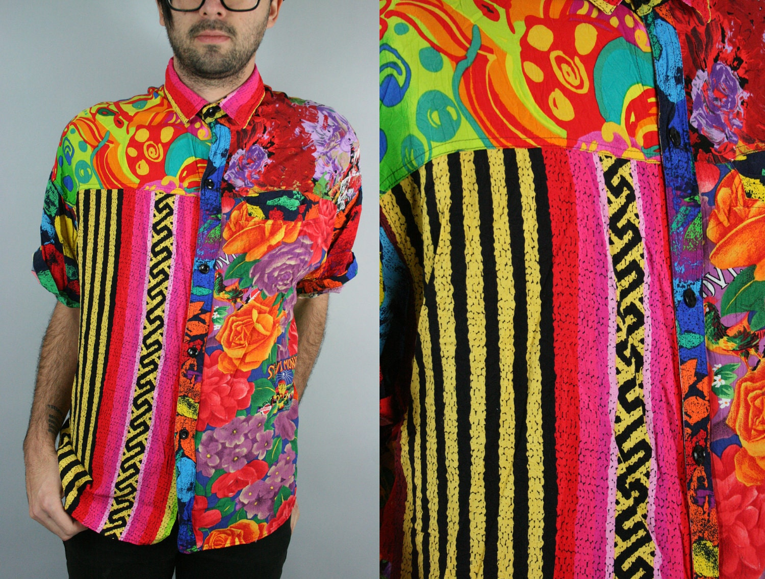 Abstract tribal floral print button up shirt for Floral print button up shirt