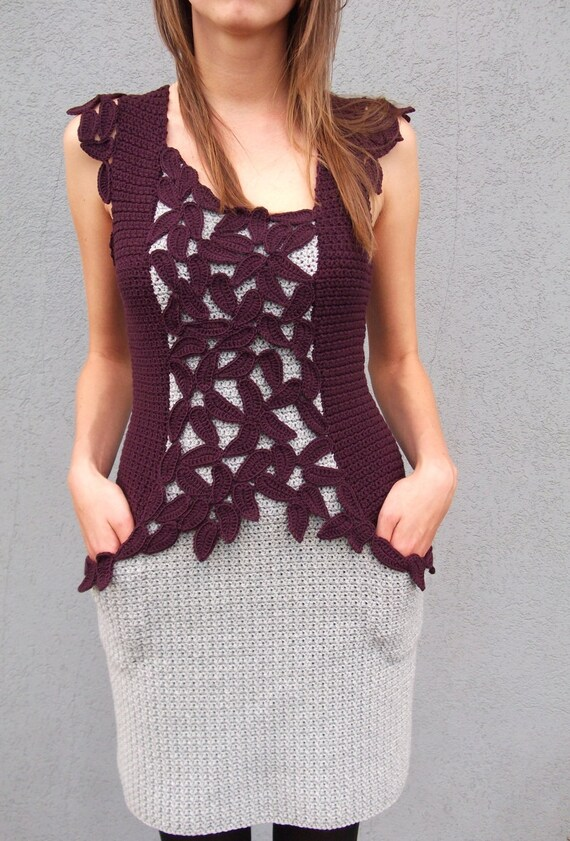 Reserved for Valentina - Award winning crochet dress - Queen of Fall - size S - ready to ship