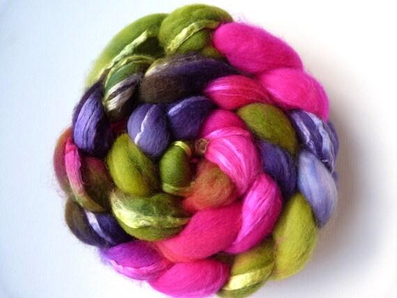Hand Painted Merino Silk  Spinning Felting Fiber Top Roving