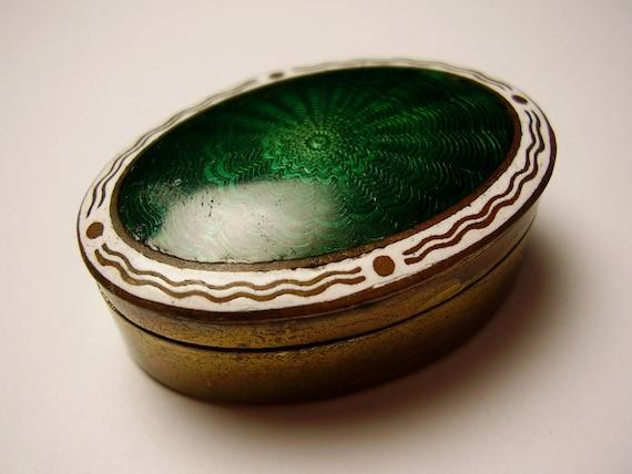 Vintage 1900s to 1920s Art Nouveau Jugendstil Secessionist Art Deco German Brass Guilloche Enamel Trinket Box