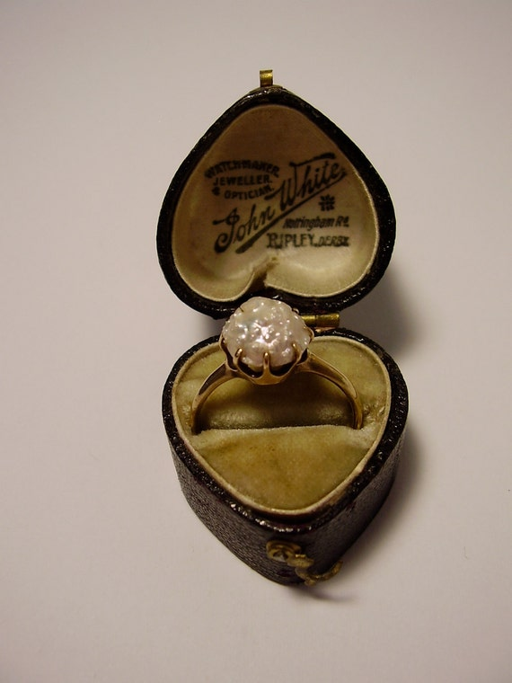 RESERVED For Claire. Installment 2 of 4. Georgian Victorian Edwardian Baroque Blister Pearl 14K 14 Carat Gold Ring with Leather Box Case