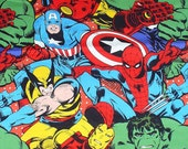 Marvel Comic Fabric, Oversized Figures, Super Hero Comics, Spiderman, Captain America, Hulk Ironman, Camelot Cottons, Wolverine, By the Yard