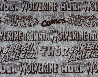 Marvel Fabric,  Super Heroes Logos, Marvel Neutrals, Thor Hulk Capt America Wolverine Spiderman, Marvel Comics, Half Yard
