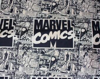 Marvel Super Heroes Comics, Half Yard, Black and Cream, Marvel Comics, Captain America, Wolverine, Ironman, Spiderman, Silver Surfer Hulk