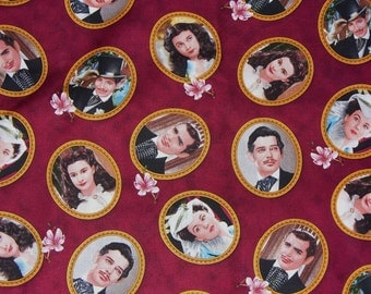 Gone with the Wind Fabric, Scarlett, Rhett, Ashley, and Melanie, Realistic Portraits, Janet Leigh, Clark Gable,  Half Yard
