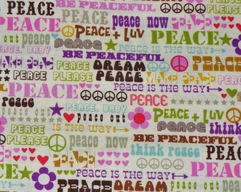 Peace Signs, Michael Miller Peace Signs Fabric, Retro Peace Fabric, Mod fabric, By the Yard, Cotton Fabric