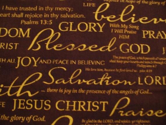 Church Fabric / Bible Verses / Christian / Religious Sayings Fabric