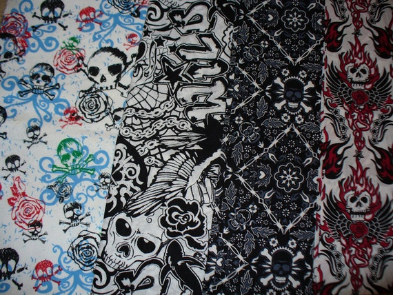 Skulls Fabrics / 4 Fabric Listing / Emo / Punk Rocker / Goth /  Rockabilly / 4 Fat Quarters / LAST ONE