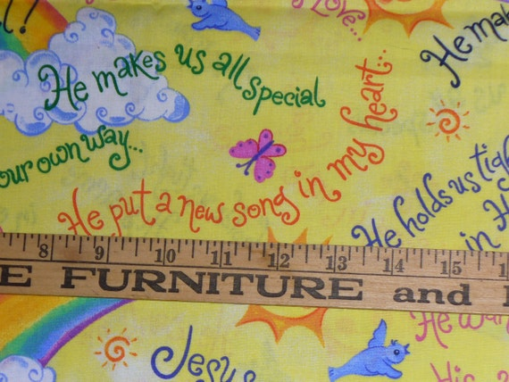 Christian fabric for children religious rainbows last for Children s upholstery fabric