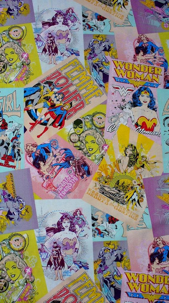 Girl Power  Fabric /  Wonder Woman, Super Girl, Batgirl Comic Book Fabric / Half Yard / Last One /Pastels / Discontinued!