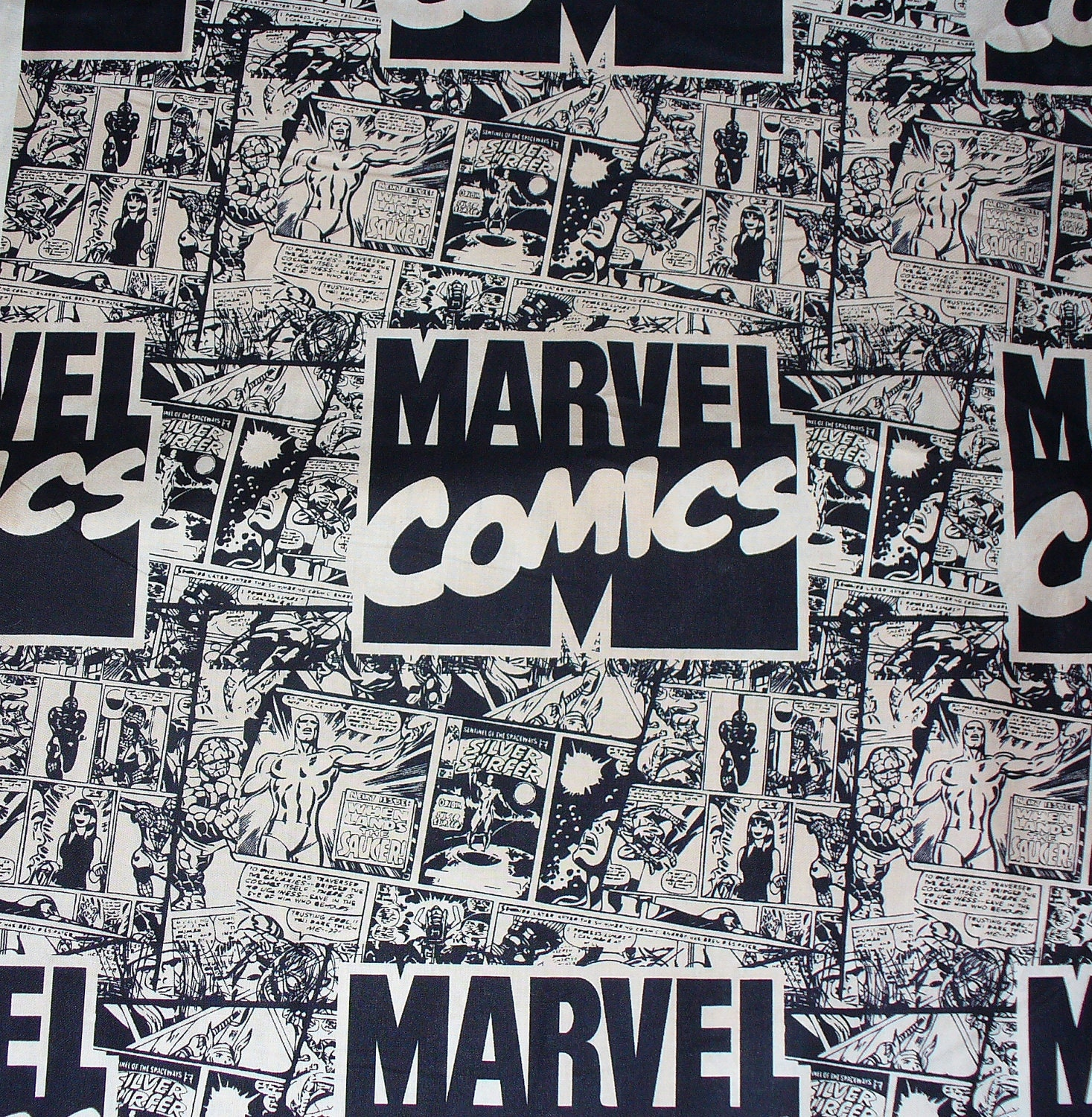 Marvel Superheroes Comics Fabric/ Neutrals / By