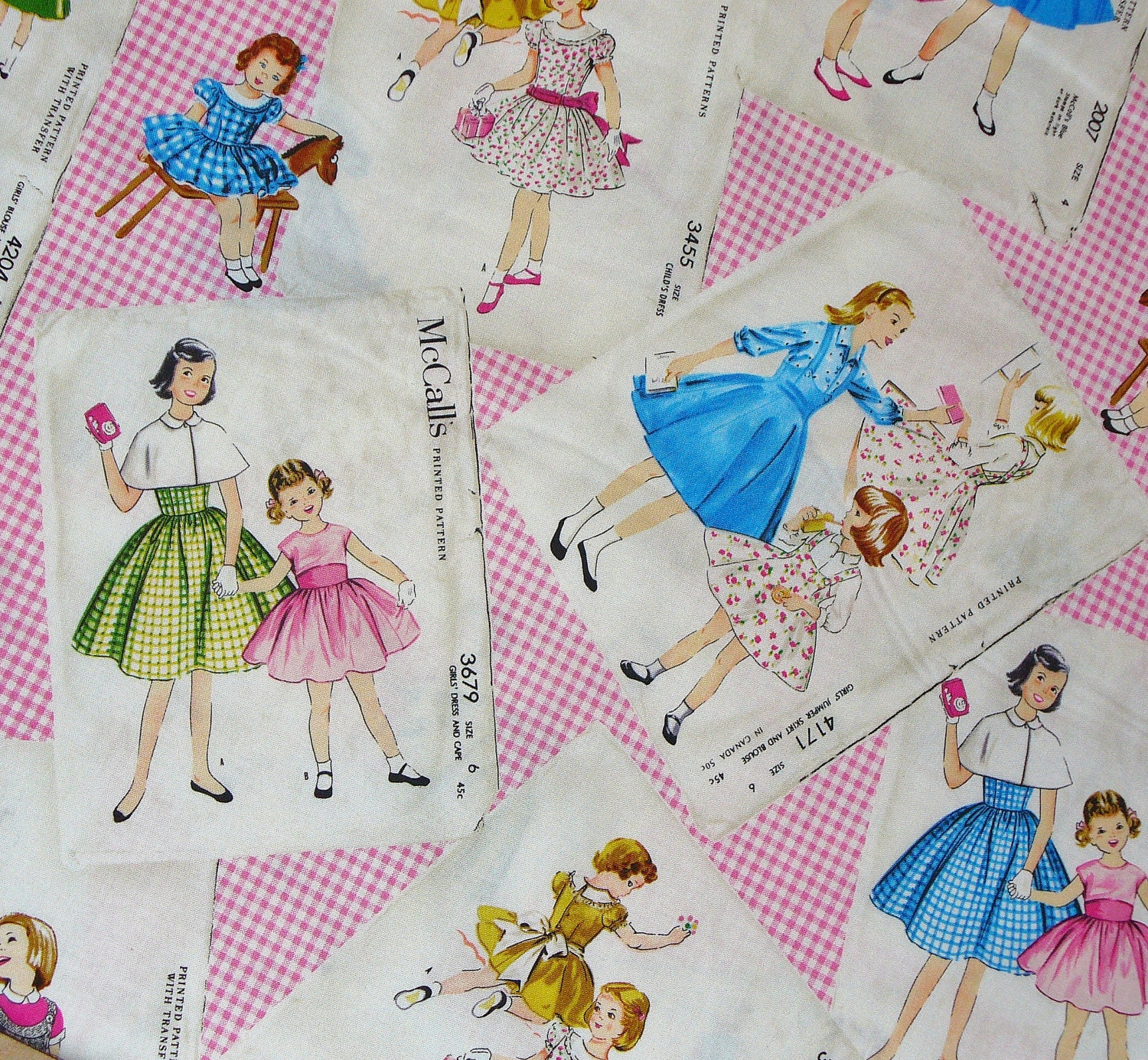 Mccalls vintage pattern fabric little girls new fabric for Vintage childrens fabric by the yard