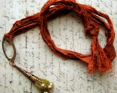 Forest Necklace in vermillion, copper, olive green colour felt and freshwater pearls